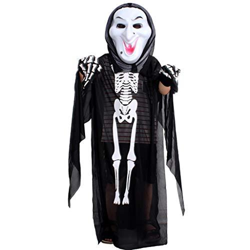 Skelett Weiß Kind Kostüm - LGP Halloween Horror Schwarzes Skelett Ghost Kind Cosplay Ghost Party Tod Teufel Hölle Weißes Ghost Kostüm Einschließlich Skelett Kleidung, Maske, Stoffhandschuhe,Blackd