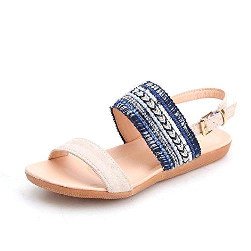 Transer Dx-020, Sandales Compensées Femme Bleu