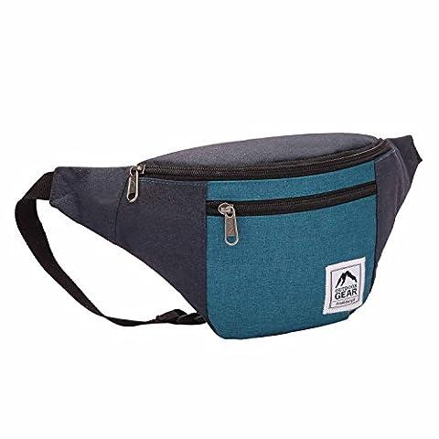 Outdoor Gear Sac banane étanche / sac de voyage de taille fourre-tout en toile jacquard - Bleu marine et jade