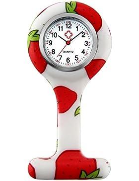 Lancardo Damen Taschenuhr, Krankenschwester FOB-Uhr mit Erdbeeren Muster, Analog Quarzuhr aus Silikon, rot weiss