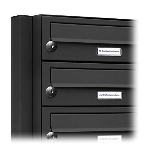 AL Briefkastensysteme 8er Briefkasten als Standbriefkasten, 8 Fach Briefkastenanlage in Anthrazit Grau RAL 7016 Postkasten modern - 2