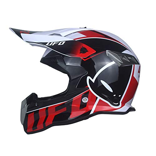 WZFC Casco Motocross Integrale Motard Downhill Caschi Moto Cross Integrali DH Omologato Donna Uomo (Model-UFO-2),Red,S