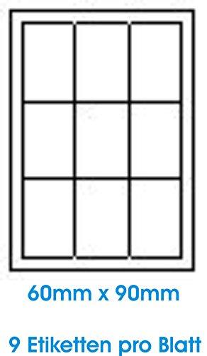 Matrix-epson-tinte (900 Stk. Selbstklebende WEIßE Etiketten permanent klebend Adressetiketten Etikettenformat 60.0x90.0mm , 100 Blatt DIN A4, 70g/qm, geeignet für Inkjetdrucker-, Laserdrucker und Kopierer.)