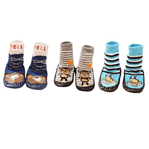 AMDUDU 3 Pares de Calcetines de Algodón Calcetines para Bebé Niños Niñas,Zapatillas antideslizantes para niños Zapatillas de deporte (6-18 meses)