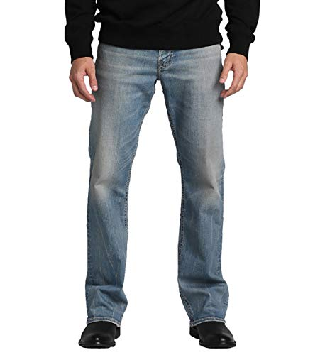 Silver Jeans Co. Herren Zac Relaxed Fit Straight Leg with Flap Pockets Jeans, Comfort Stretch Vintage Wash, 38W / 32L -