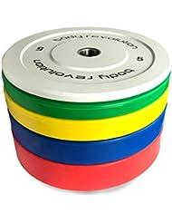 Body Revolution pare-choc en caoutchouc Disques de poids colorés Olympique 5,1cm Disques pour haltères et crossfit (1.25kg-25kg)