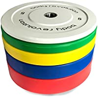 """Body Revolution Olympic Rubber Bumper Weight Plates Coloured 2"""" Discs for Barbells & Crossfit (5kg - 25kg)"""