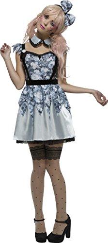 Kostüme Ideen Doll (Smiffy's 44543S - Fever kaputte Puppe Annie Kostümes Kleid Befestigt Underskirt Kragen und Bow)