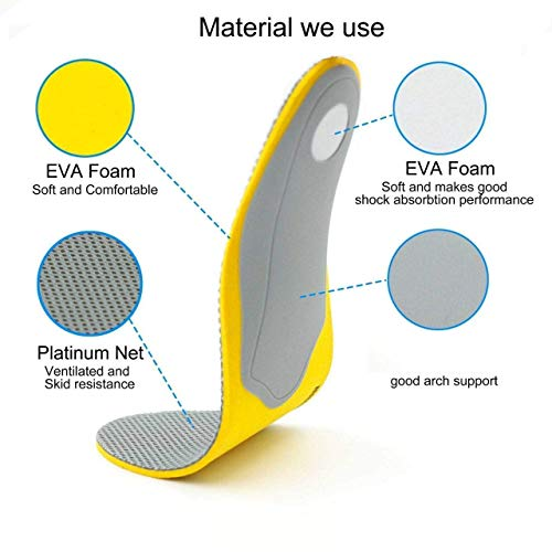 Skudgear 2 Pieces Arch Support Foot Memory Foam Shock Absorption Insoles Orthopedic Shoe Insoles for Both Men & Women - (EU 40-46)