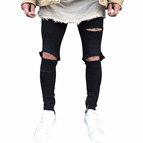 Btruely Herren Hosen Demin Jogger Jeans Slim Fit Mode Hiphop Streetwear Hosen Männer Hosen Motorcycle Slacks Sweatpants (31, Schwarz)