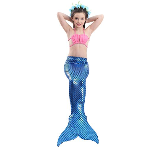 Alxcio Mädchen Meerjungfrauen Bikini Tankini Kostüm Meerjungfrauenschwanz zum Schwimmen Meerjungfrau Meerjungfrauenschwanz + Schwanzflosse + Niedlich Muschelbikini