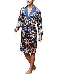 b07f1c95e3 Pijama Kimonos Albornoz para Hombre Largo Camisón Robe Batas Ropa De Dormir  Satín Dragón De Impresión