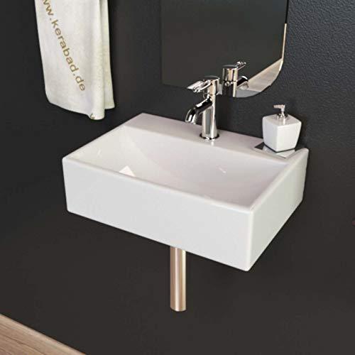 KERABAD Design Keramik Waschbecken Waschtisch Waschschale Aufsatzwaschbecken Aufsatzwaschtisch Gäste WC Becken klein eckig KBW301 BxTxH 36x26x11cm
