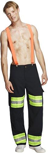 Fever Herren Feuerwehrmann Kostüm, Hose und Hosenträger, Größe: M, 20897