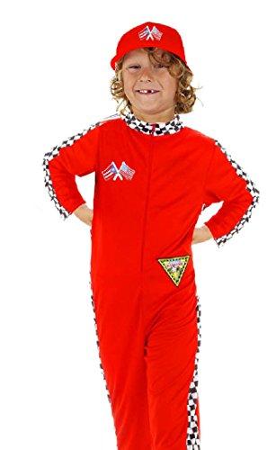 Folat 21905 - Kinderkostüm Rennfahrer, rot, 9-11 (Rennfahrer Kostüm Anzug)