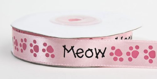 5/8 Wide Satiny Cat Lover Pink Ribbons with Meow & Kitty Paw Prints - 50 Yards Total (2 Spools - 25 Yards Each) by Lloyd -