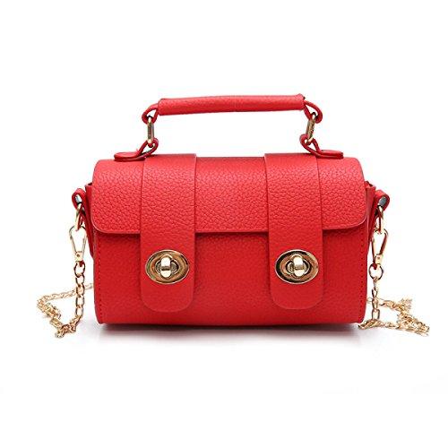 Faux-leder-satchel (Frauen Faux Leder Vintage Kleine Satchel Bag Crossbody Geldbörse,Red)