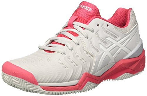 ASICS Gel-Resolution 7 Clay, Scarpe da Tennis Donna, Grigio (Glacier Grey/White/Rouge Red), 39.5 EU