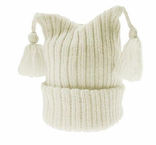 Neugeborenen warme Winter Baby-Mädchen oder Jungen Tri Top Knit Gerippter Hat mit lange Fransen–erhältlich in weiß, creme, rosa oder blau -, Elfenbein (Tri Gerippt)