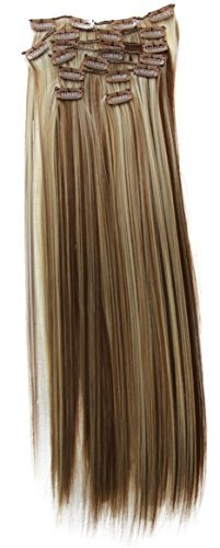Prettyshop xxl set 8 pezzi clip nelle estensioni estensione dei capelli parte dei capelli fibra sintetica termoresistente liscio 60 cm marrone ciocche bionde # 6h613 ces15
