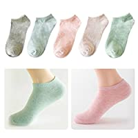 Lamdgbway 5 Pairs Fashion Women Socks Low Cut No Show Socks Cotton Ankle Sock Pure Color, One Size