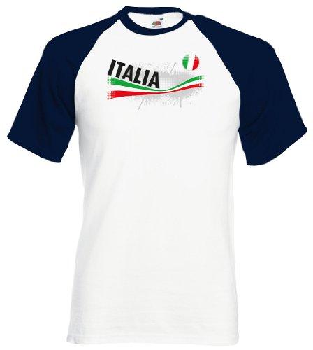 Italia / Italien Herren T-Shirt Vintage Baseball Trikot|navy L (Italien Trikot Baseball)