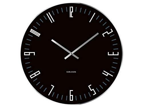 Karlsson KA4912 Horloge Murale XL Slim Index, Glass Mirror Edge, Noir Verre, 63 x 6 x 60 cm