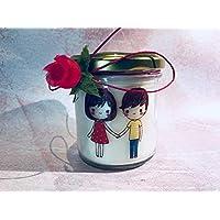 Ti amo Candela con disegno e ciondolo a scelta personalizzata con nomi o frasi a scelta in cera di soia idea regalo per fidanzata moglie compagna Anniversario Fidanzamento