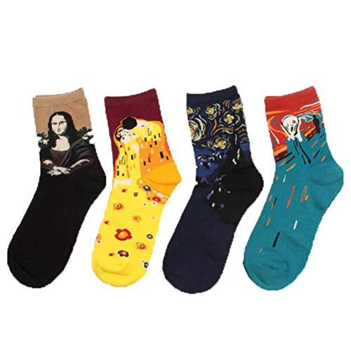 LifeWheel 4 Paar Damen Maedchen Stricken Mehrfarbig Witzige Baumwolle Bunt Muster Socken, Mehrfarbig, Ones size 35/40 -
