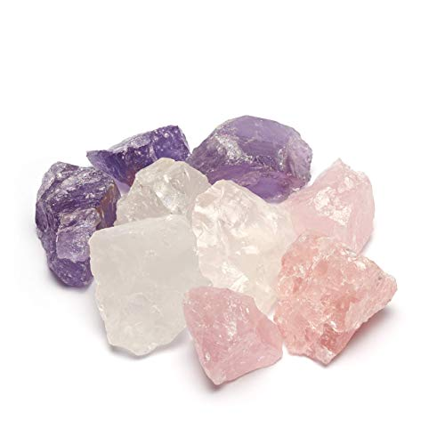 Premium Edelstein Basis-Mischung | 100{030b05c0fd012958626e6a3ad0ac1e743990c0212e114f572b564e2fd96b9a0a} Natursteine | Wassersteine-Set Grundmischung: Rosenquarz, Amethyst, Bergkristall