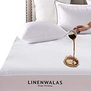 """Linenwalas Bed Cover Waterproof & Dustproof Laminated Terry Fitted Cotton Mattress Protector - White - 72""""x78"""""""