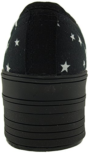 Maxstar C50 6 trous plate-forme basse table Trendy Chaussures-baskets Noir - Star-Black