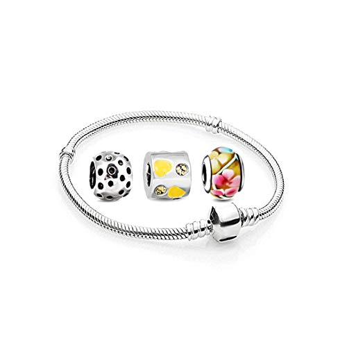 AKKi jewelry Charms Beads Armband und 3 Anhänger Starter-Set - Angebot Zirkonia Murano Glas bettelarmband Pandora Style kompatibel Damen Schmuck Geschenk Idee 21cm