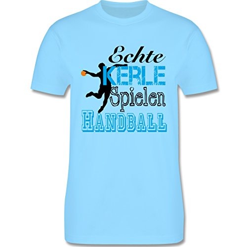 Handball - Echte Kerle Spielen Handball - Herren Premium T-Shirt Hellblau