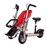 ZhaoZC Passeggino per Bici elettrica Doppio Bambino 2 in 1 per Bambini Triciclo gemellare per Bici a Due posti Usato per Adulti Unisex,Red