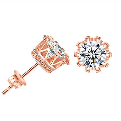 Yazilind Elegante JOYERIA Silber Ohrringe Stud mit Zirconia Cubico Lid für Frauen Mädchen Geschenk Rose Gold