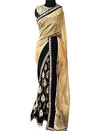 Swara Fashion Women's Georgette Thread Work Saree(SFP-233_Cream, Black)