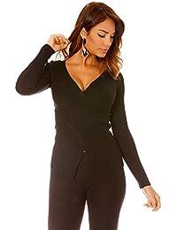 fashion boutik Pull Noir Cache Coeur cotelé Femme Sexy Tendance b3bce0138644