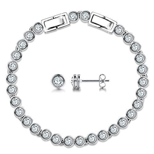 GEORGE · SMITH Klassischer Schmuckset Silber Tennisarmbänder 925 Sterling Silber Ohrstecker Sets mit Swarovski Kristallen Geschenke für Frauen Hypoallergen