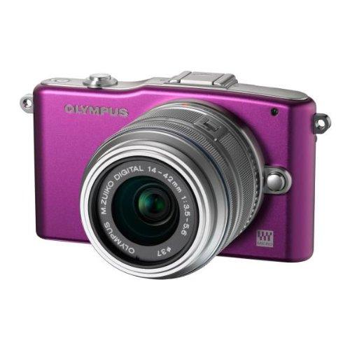 Olympus Pen E-PM1 Systemkamera (12 Megapixel, 7,6 cm (3 Zoll) Display, bildstabilisiert) lila mit 14-42mm Objektiv silber