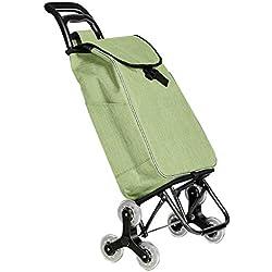 L-G-M Carros De Compras Plegables Carros De Casa Convenientes Carros De Escalada De Escalera Carros De Ancianos Que Compran Carros con Ruedas Giratorias (Color : Green)