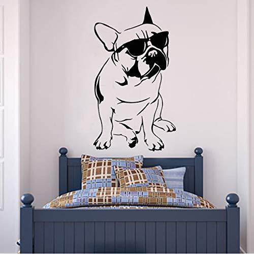 JXSTORE Wandaufkleber für Schlafzimmer Wohnzimmer Mädchen Junge Küche - Hübsche Französische Bulldogge Mit Sonnenbrillen