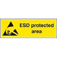 Nouvelle-Calédonie Signes 24249G ESD Zone protégée signe, autocollant en vinyle, 300mm x 100mm