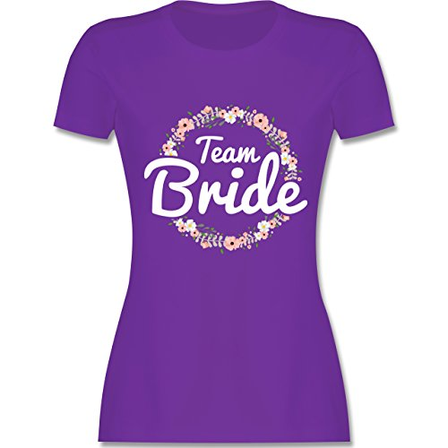 JGA Junggesellinnenabschied - Team Bride Blumenkranz - L - Lila - L191 - Damen T-Shirt Rundhals