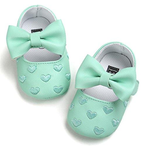Hunpta Baby Mädchen Bowknot Leater Schuhe Sneaker rutschfest weiche Sohle Toddlerr (Alter: 0 ~ 6M, Rot) Grün