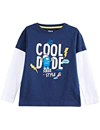 Max Boy's Plain Regular fit T-Shirt (W19DBT14_Dark Blue_7-8Y)