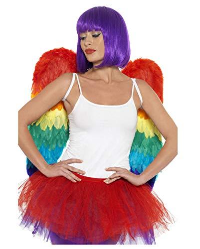 Kostüm Lila Feder Flügel - Horror-Shop CSD & Einhorn Feder-Flügel in Regenbogen Farben