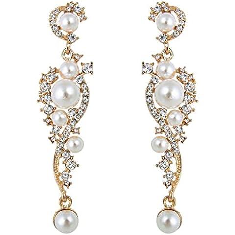 EVER FAITH® austriaco del cristallo di colore avorio simulato perla nuziale orecchini Cancella N04939-2