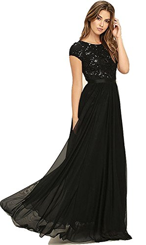 Royal Export Women\'s Black Georgette Party Wear Gown (Small)