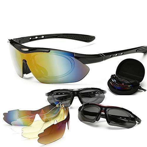 Hnks Fahrradbrille 5 Wechselgläser Polarisierte Sonnenbrille Outdoor Radfahren Brille Anzug Fahrrad Sonnenbrille Ultraleichtes Rahmendesign für Männer und Frauen